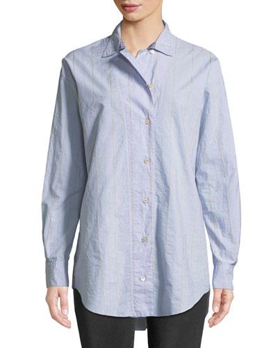 Oversized Striped Poplin Shirt