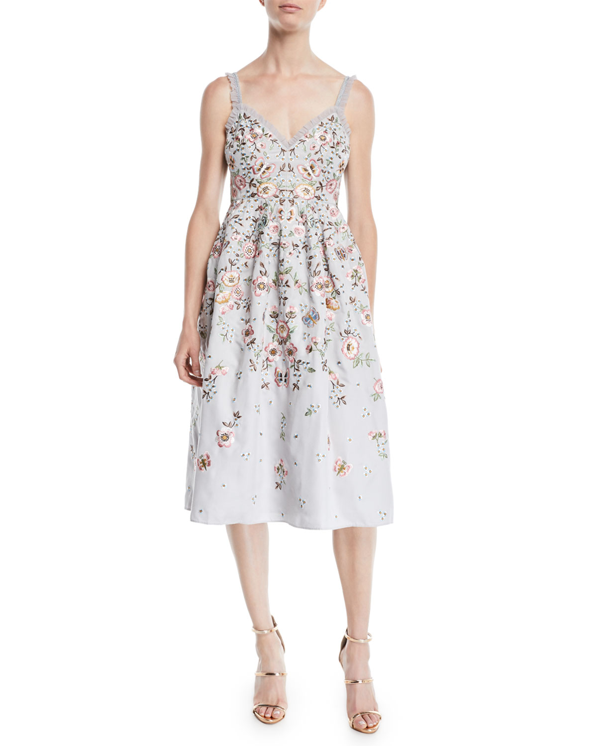 Needle & Thread BUTTERFLY ROSE CAMI MIDI DRESS