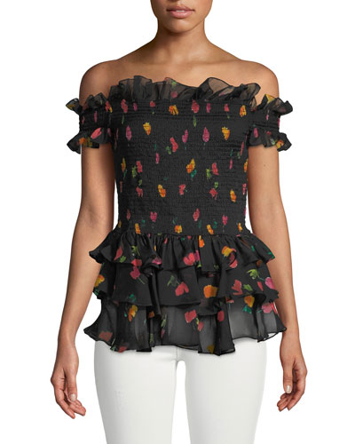 Hydra Floral Off-the-Shoulder Ruffle Top