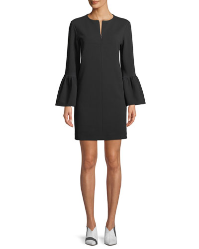 Structured Crepe Bell-Sleeve Mini Dress