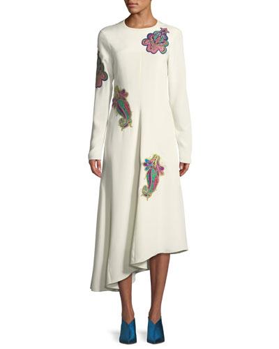 Open-Back Paisley Asymmetric Midi Dress