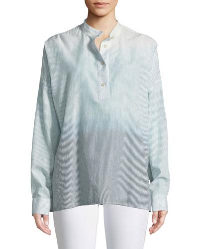 Flint Mandarin-Collar Long-Sleeve Ombre-Striped Shirt