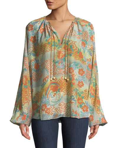 eb4cbc4c2b3ad7 Chance Ruched-Neck Long-Sleeve Printed Silk Blouse Quick Look