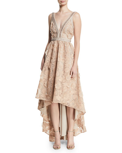 Bettina V-Neck High-Low Gown