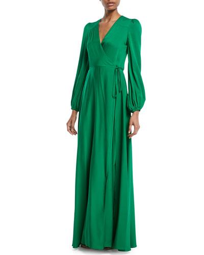 Gina Long-Sleeve Silk Wrap Gown