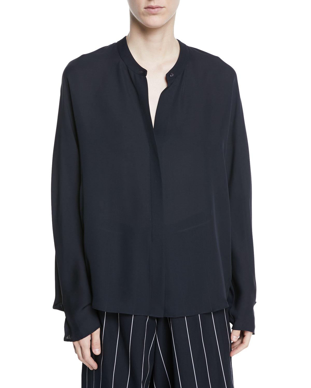 Envelope-Sleeve Silk Split-Back Popover Top, Ice Blue