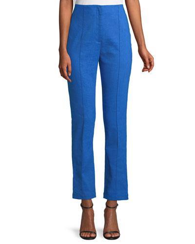 Mid-Rise Linen Skinny Pants