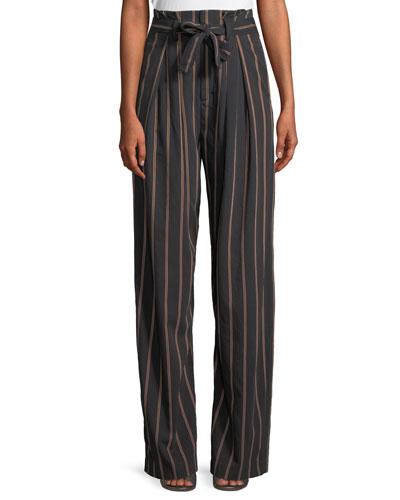 Belted Stripe Wide-Leg Pants