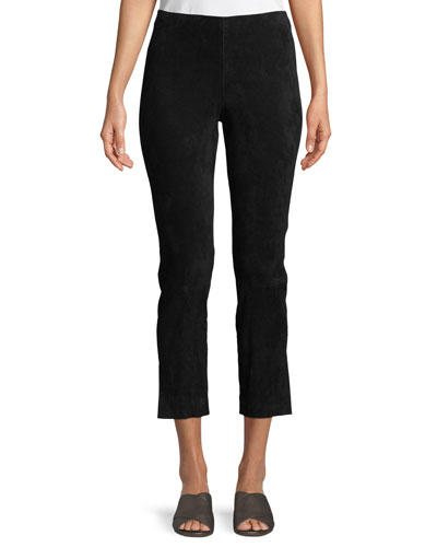 Stretch-Suede Split Hem Crop Pants