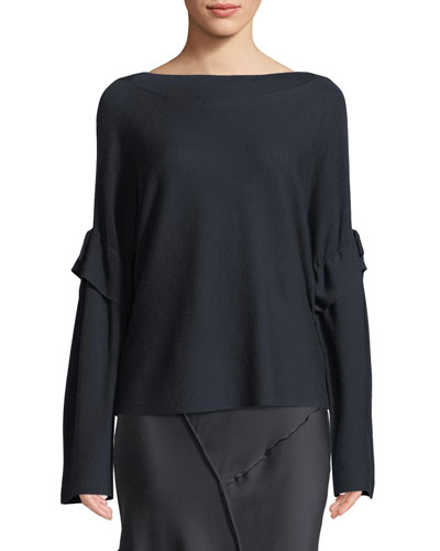 Tie-Sleeve Boat-Neck Wool Sweater Top
