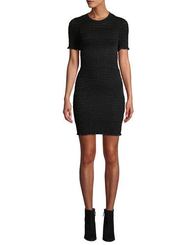 Sheer Striped Short-Sleeve Tee Dress