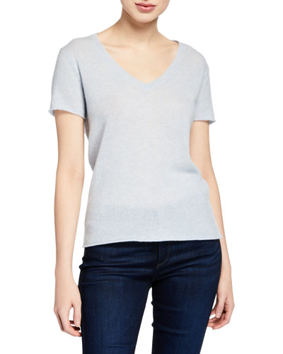 7d463f70c2785c Cashmere V-Neck Short-Sleeve Sweater Top Quick Look. ATM Anthony Thomas  Melillo
