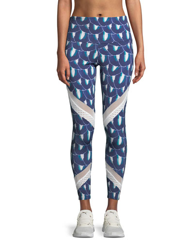 Sporty Printed Mesh Performance Leggings