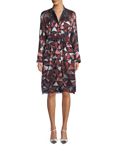 Calleigh Geometric-Print Duster Dress