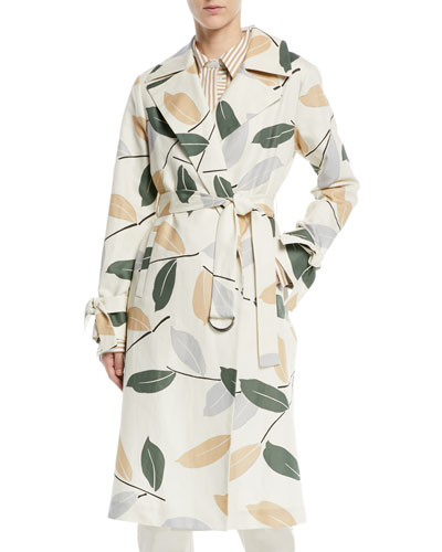 4d81f4c03bf1 Rayna Leaf-Pattern Trench Coat