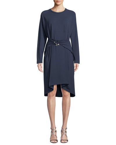 Belted Long-Sleeve Crewneck Dress