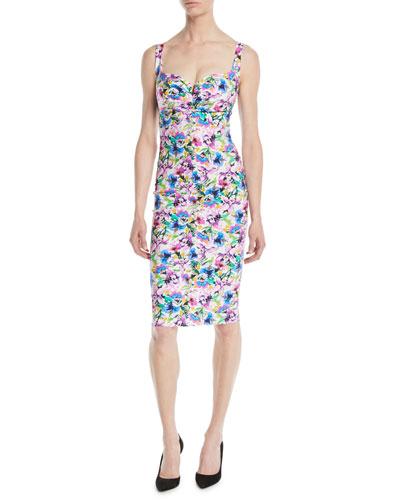 Ceyda Boned Floral-Print Cocktail Dress