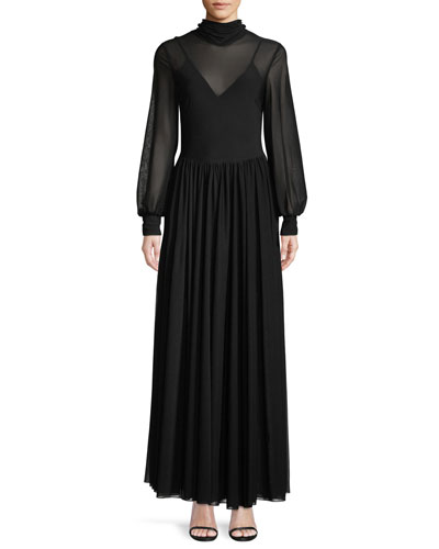 High-Neck Long-Sleeve Maxi Dress