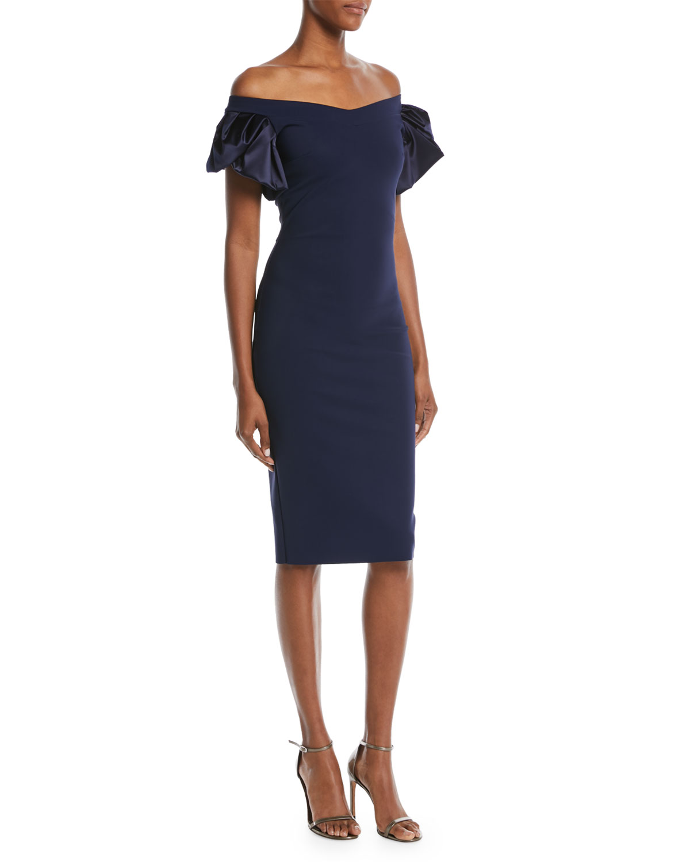 Eunice Off-the-Shoulder Puff-Sleeve Dress