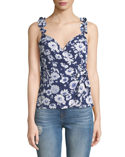 Marin Sleeveless Floral Ruffle Top