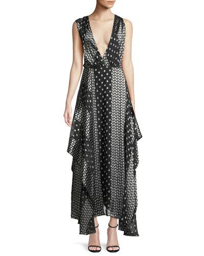 Draped Dot-Print Silk Maxi Dress