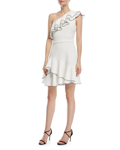 One-Shoulder Ruffle Mini Dress