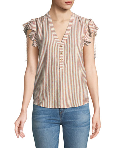 Blakely Striped Flutter-Sleeve Top