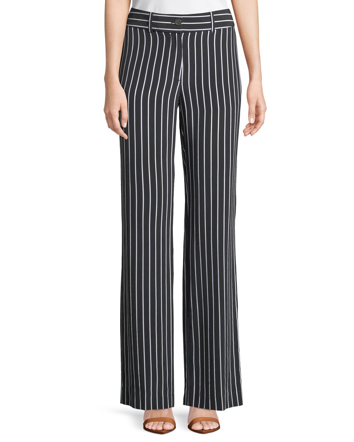 Lita Striped Washed-Silk Wide-Leg Pants in Black
