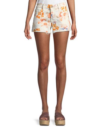 179f5bc6961 Floral-Print Cutoff Shorts