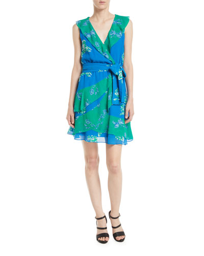Elisa Floral Ruffle Faux-Wrap Dress