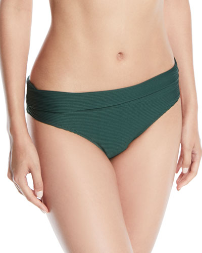 Fold-Over Pintucked Hipster Bikini Bottoms