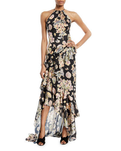 Floral Decoupage-Print Ruffle Halter Gown