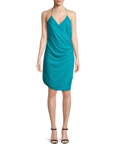 Poolside Wrap-Front Sleeveless Mini Dress
