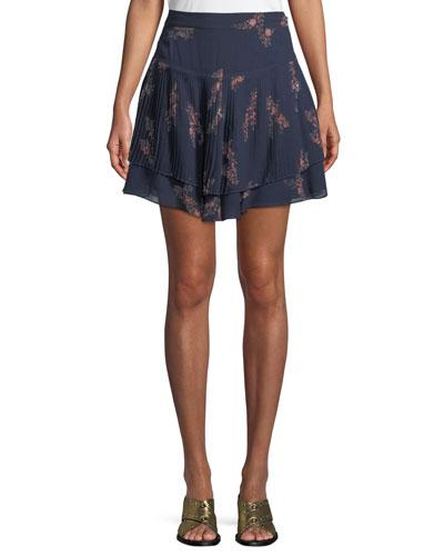 Pleated Floral-Print Mini Skirt