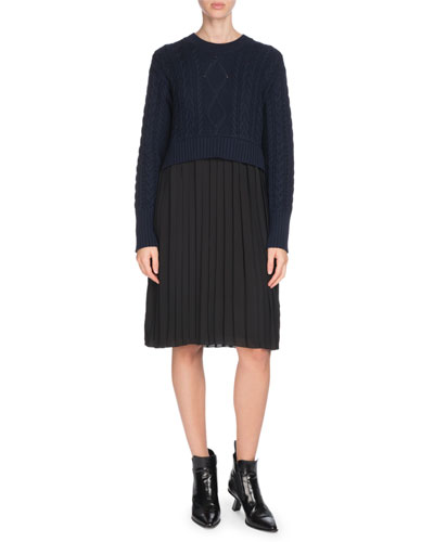 Mixed-Knit Pleated Long-Sleeve Dress