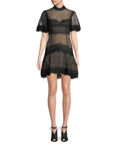 Lingerie-Inspired Lace Short-Sleeve Mini Cocktail Dress