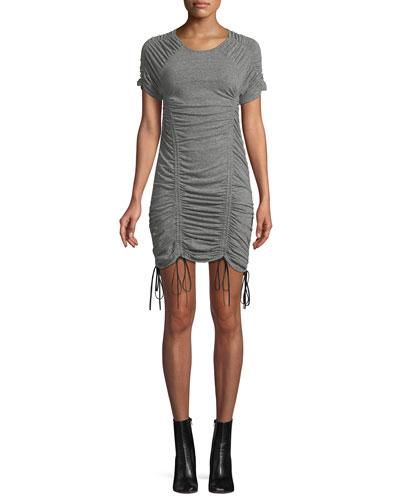 Estella Ruched Drawstring Mini Dress