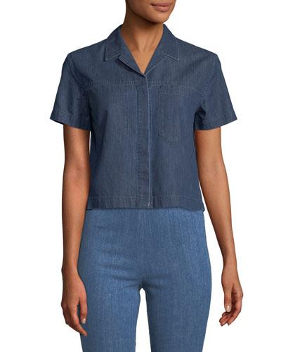 Reggie Button-Front Short-Sleeve Top