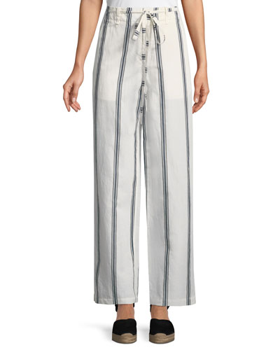 Oasis High-Waist Straight-Leg Striped Cotton-Linen Pants