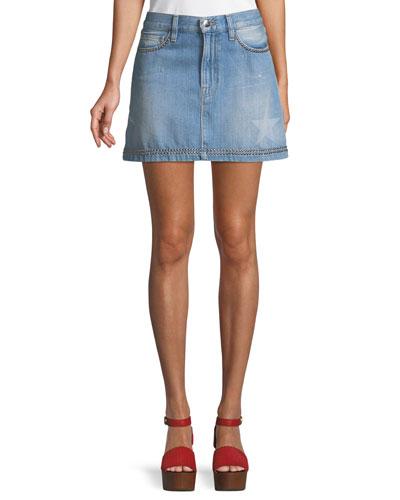 Le Mini Studded Denim Skirt