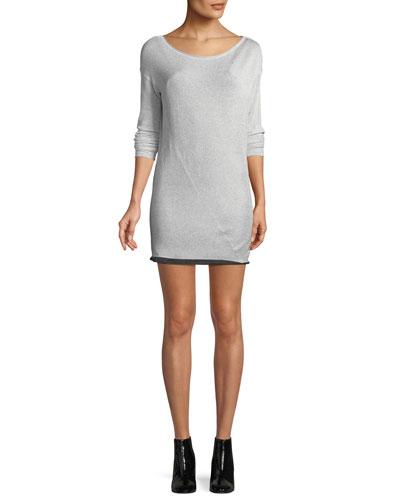 Flora Round-Neck Long-Sleeve Metallic-Knit Mini Sweaterdress