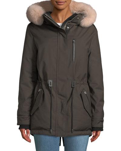 Chara Parka Coat w/ Fur-Trim Hood