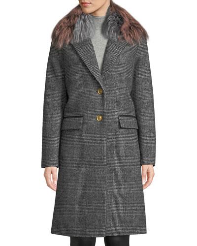 Henrita Wool Coat in Plaid w/ Removable Fur