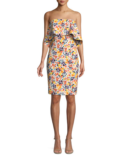 Strapless Ditsy-Print Popover Dress