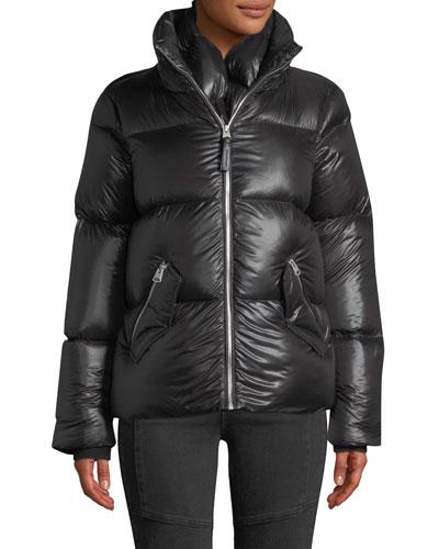 Mirri Lustrous Lightweight Down Crop Puffer Jacket