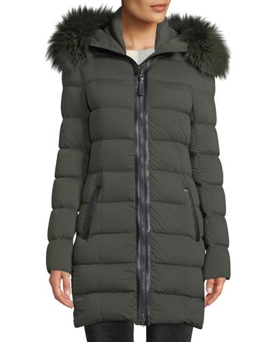 Calla Hooded Puffer Coat w/ Fur Trim