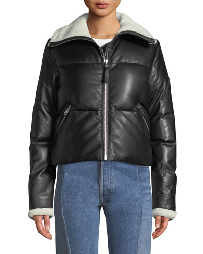 Cammi Down-Fill Leather Jacket