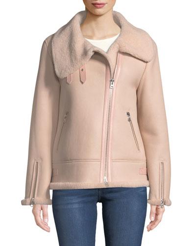 Zip-Up Sheepskin Fur Moto Jacket