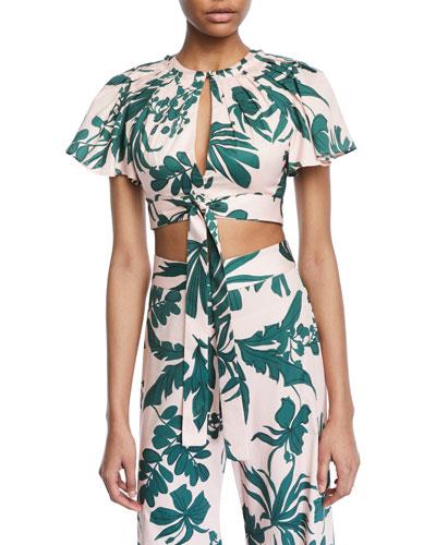 Lali Tropical-Print Crop Top