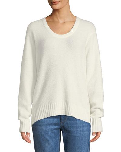 Scoop-Neck Alpaca-Blend Pullover Sweater